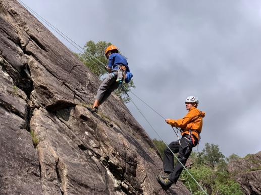 Teaching lead rock climbing